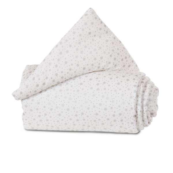 babybay Gitterschutz Organic Cotton für Verschlussgitter, weiß Glitzersterne silber