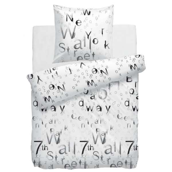 HnL Mako-Satin-Bettwäsche Wallstreet Off-white 135x200 cm