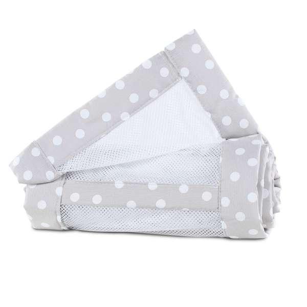 babybay Nestchen Mesh-Piqué für Maxi, Boxspring und Comfort, perlgrau Punkte weiß