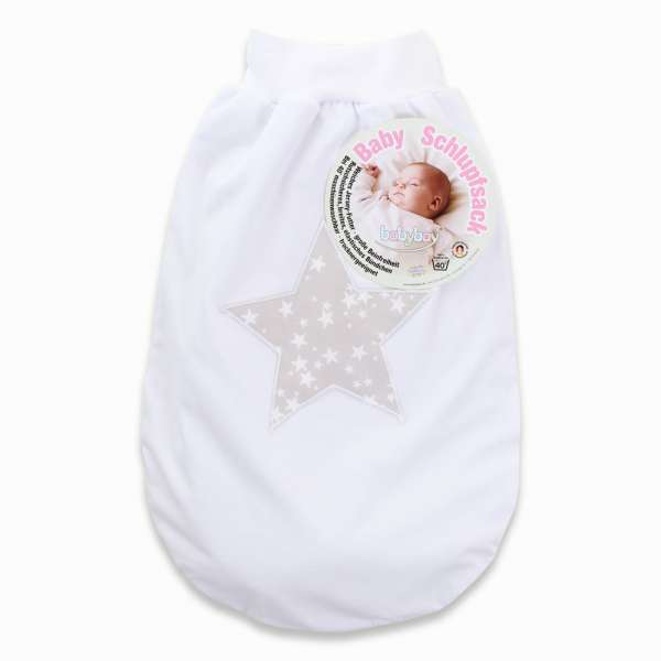 babybay Schlupfsack mit Gurtschlitz, weiß Applikation Stern perlgrau Sterne weiß