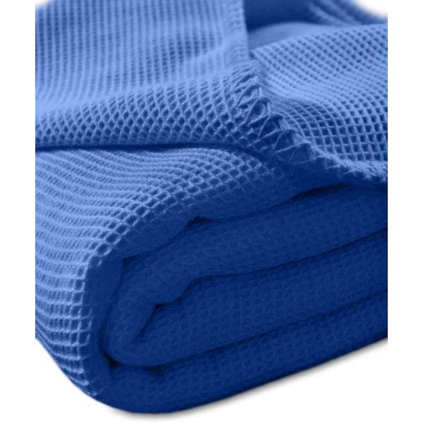 Kneer la Diva Pique Decke Qualität 91 Farbe kobalt Größe 150x210 cm Kuscheldecke