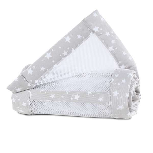 babybay Nestchen Mesh-Piqué für Maxi, Boxspring, Comfort, perlgrau Sterne weiß
