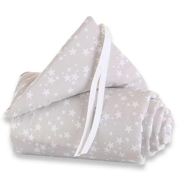 babybay Nestchen Piqué für Maxi, Boxspring und Comfort, perlgrau Sterne weiß