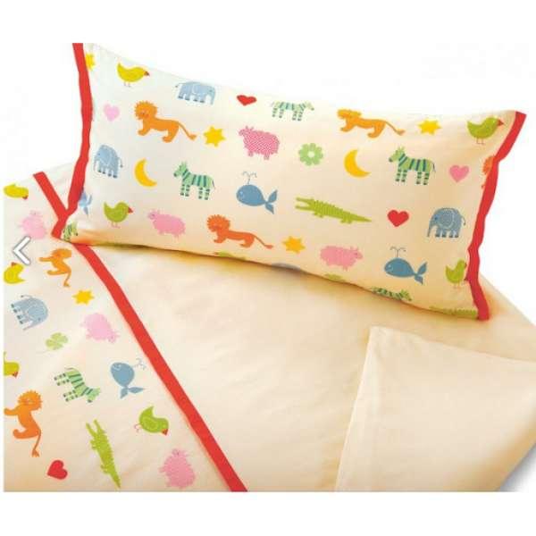Cotonea Bio-Baumwolle Satin Kinderbettwäsche Arche Noah Größe 100x135+40x60 cm Kissenbezug