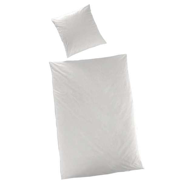 Hahn Haustextilien Luxus-Satin Bettwäsche uni Farbe weiß Größe 135x200 cm
