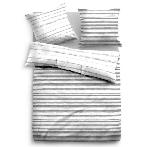 Tom Tailor Satin-Wendebettwäsche 69893-844 Größe 200x200/2x80x80 cm grau