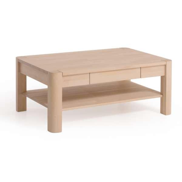 DICO Möbel Couchtisch CS 400 B Massivholz Buche/Wildeiche Größe 110x70 cm mit Ablage und Schublade