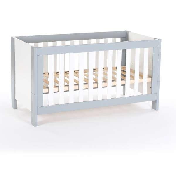 babybay Kinder -und Beistellbett All in One 140x70 cm, hellgrau/weiß lackiert