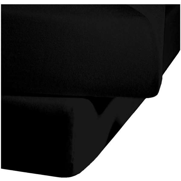 Fleuresse Mako-Satin-Spannlaken colours 941 schwarz, Größe 100x 200 cm