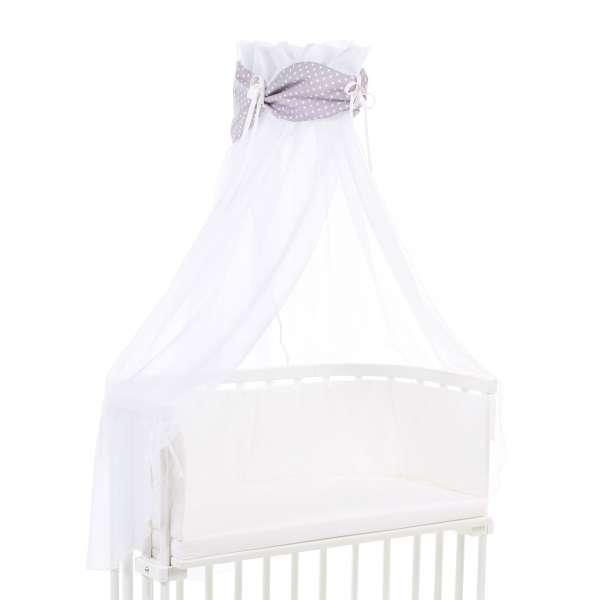 babybay Himmel Organic Cotton mit Schleife für alle Modelle, lichtgrau Sterne weiß