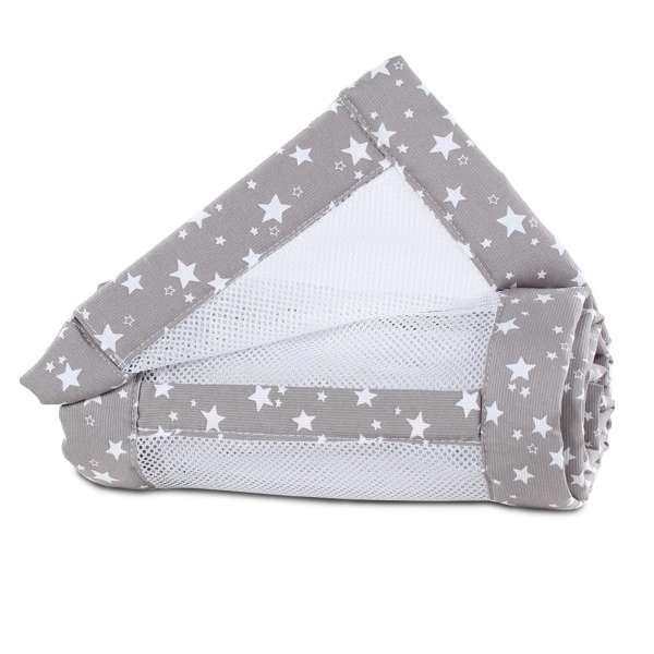 babybay Nestchen Mesh-Piqué für Maxi, Boxspring und Comfort, taupe Sterne weiß