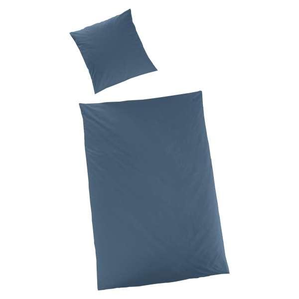 Hahn Haustextilien Luxus-Satin Bettwäsche uni Farbe petrol Größe 155x220 cm