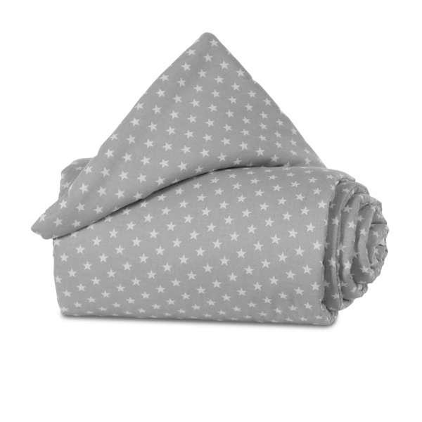 babybay Gitterschutz Organic Cotton für Verschlussgitter, lichtgrau Sterne weiß