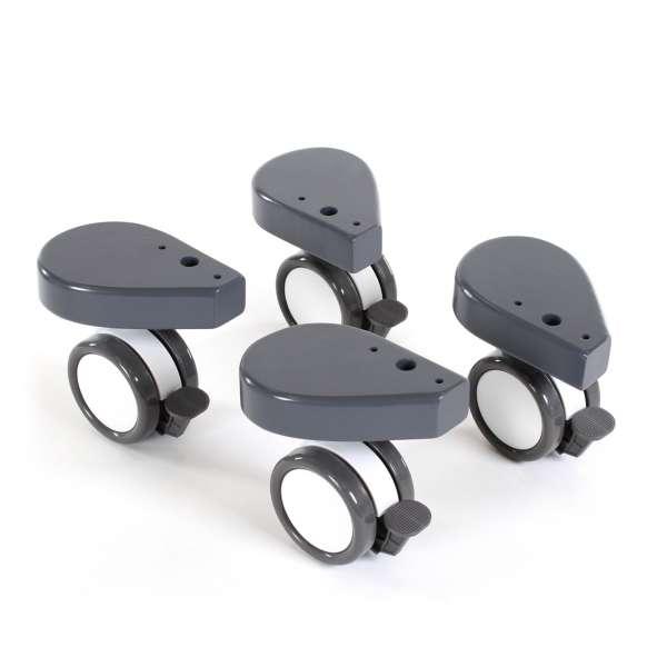 babybay Rollensatz Spezial mit Stoßschutz für alle Modelle, schiefergrau lackiert