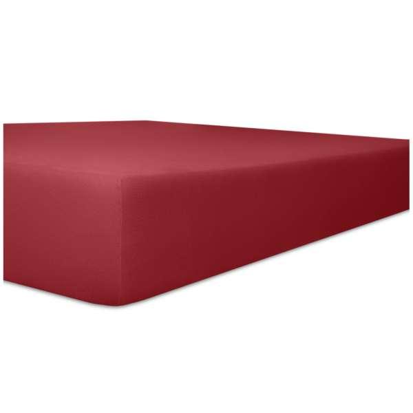 Kneer Superior-Stretch Spannbetttuch 2N1 mit 2 verschiedenen Liegeflächen Qualität 98 Farbe karmin