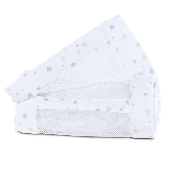 babybay Nestchen Mesh-Piqué für Modell Original, weiß Sternenmix sand/azurblau