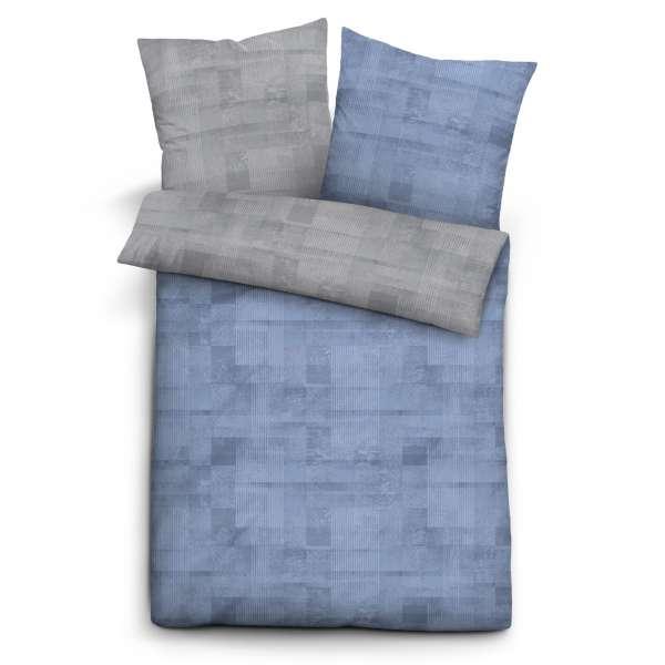Biberna Mako Satin Wendebettwäsche 636061-256 Größe 200x200/2x80x80 cm blau