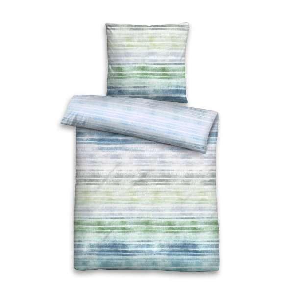 Biberna Seersucker Bettwäsche Querstreifen Größe 200x200/2x80x80 cm