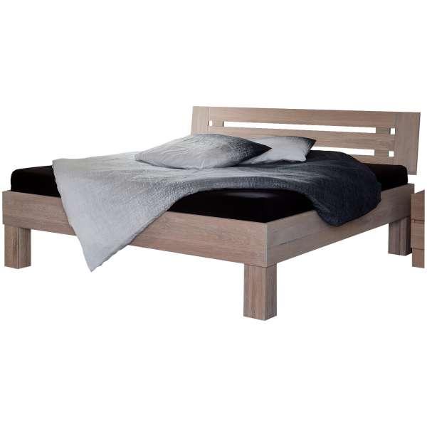 Bed Box Massivholz Bettrahmen Premium Mailand Wildeiche Komforthöhe mit Kopfteil