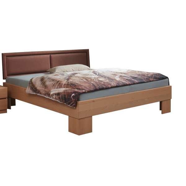 Bed Box Massivholz Bettrahmen Premium Madrid Wildeiche grau mit Polsterkopfteil
