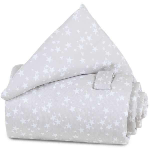 babybay Gitterschutz Piqué für Verschlussgitter, perlgrau Sterne weiß