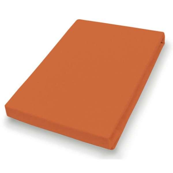 Hahn Haustextilien Jersey-Spannlaken Basic Größe 140-160 x 200 cm Farbe terra