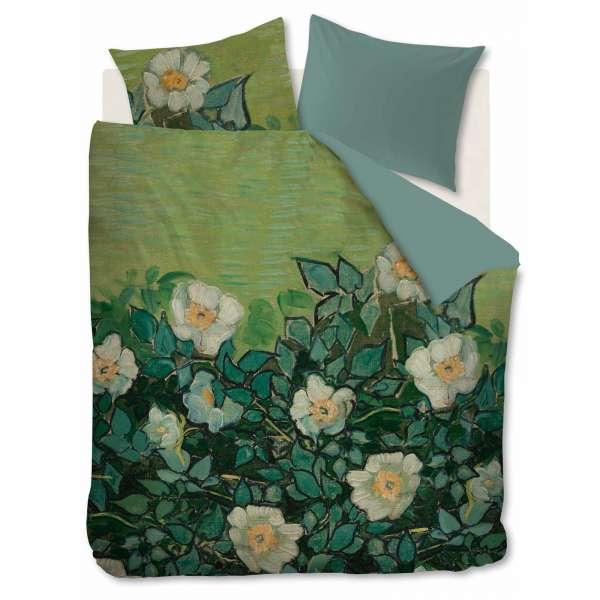 beddinghouse Mako Satin Bettwäsche van Gogh Wild Roses Größe 155x220/80x80 cm, green