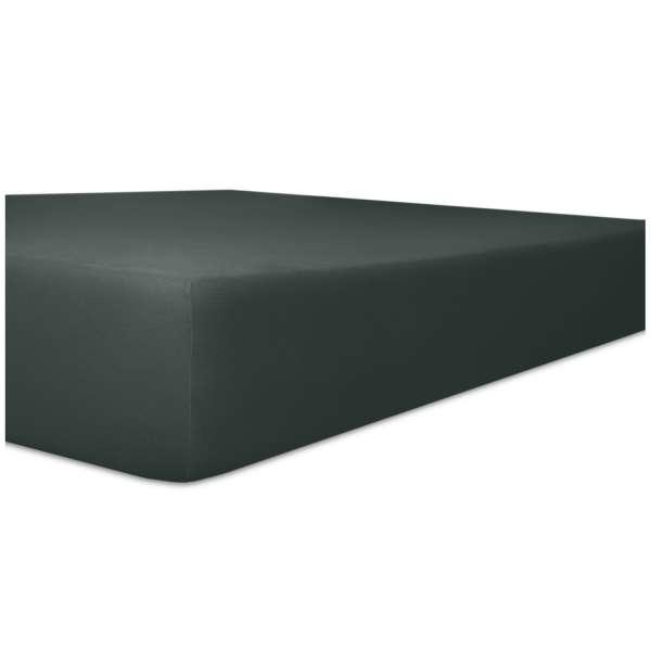 Kneer Edel-Zwirn-Jersey Spannbetttuch für Matratzen bis 22 cm Höhe Qualität 20 Farbe schwarz