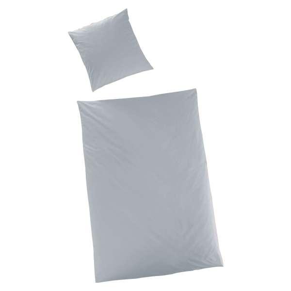 Hahn Haustextilien Luxus-Satin Bettwäsche uni Farbe silber