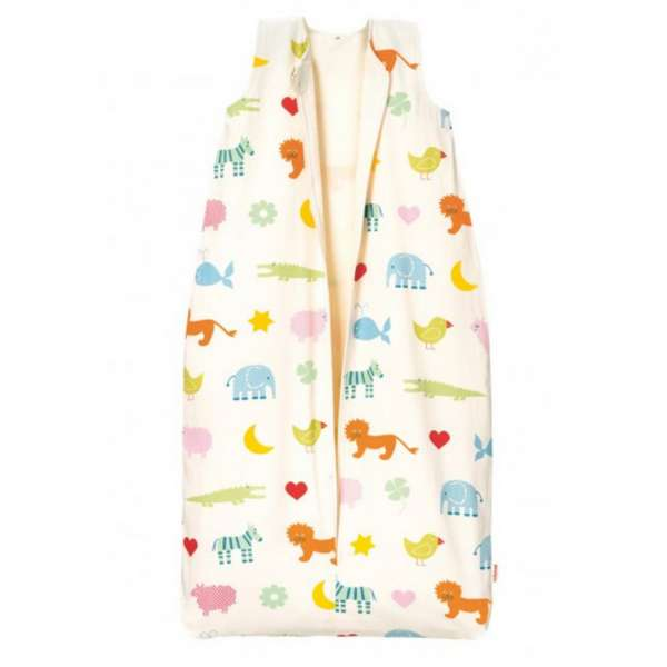 Cotonea Bio-Baumwolle Kinderschlafsack mit Teddyplüschfutter Design Arche Noah Größe 70