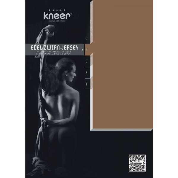 Kneer Edel-Zwirn-Jersey Kissenbezug Q20 Farbe toffee Größe 40x80 cm