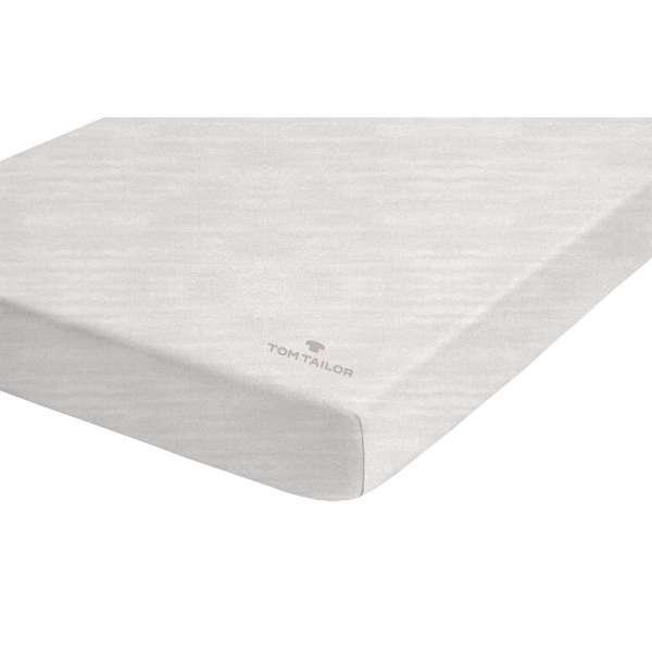 Tom Tailor Melange-Jersey Spannbetttuch UNI-MELANGE, Farbe white sand 140/160x200 cm