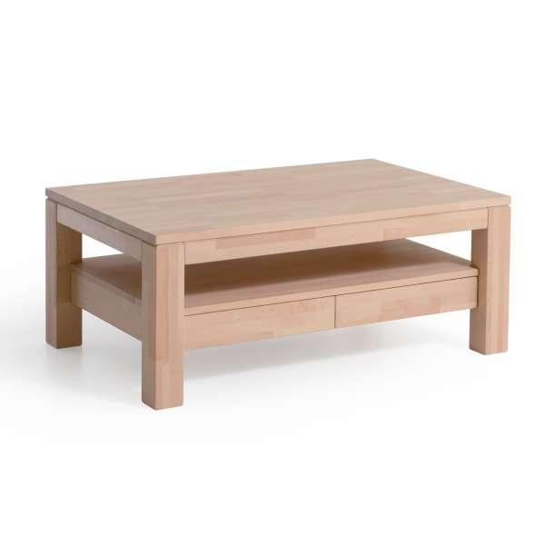 DICO Möbel Couchtisch CS 061 Massivholz Buche/Wildeiche Größe 110x70 cm mit Ablage und 2 Schubladen