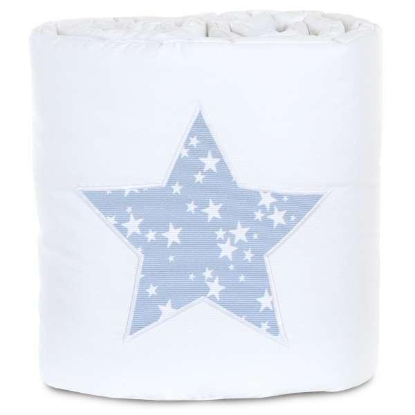 babybay Nestchen für Original, weiß Applikation Stern azurblau Sterne weiß