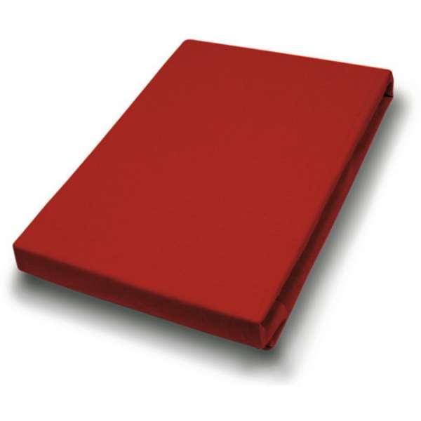 Hahn Haustextilien Jersey-Spannlaken Basic Größe 140-160x200 cm Farbe rot