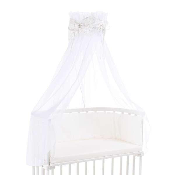 babybay Himmel Organic Cotton mit Schleife für alle Modelle, weiß Glitzersterne silber
