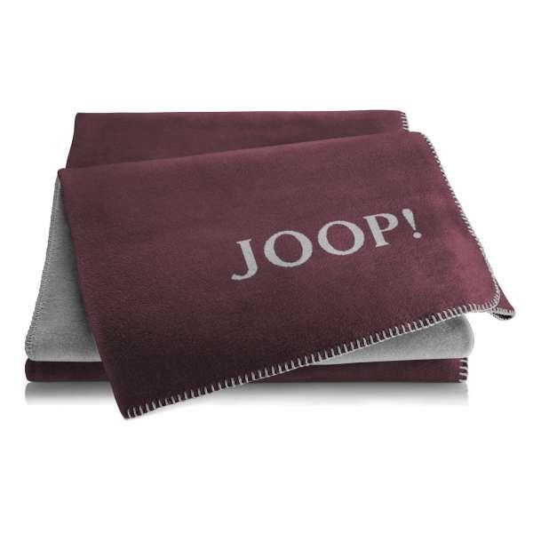 JOOP Wohndecke Uni-Doubleface Größe 150x200 cm Bordaux-Graphit
