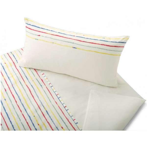 Cotonea Bio-Satin Kinder-Wendebettwäsche Stripy Größe 100x135 cm+40x60 cm Kissenbezug