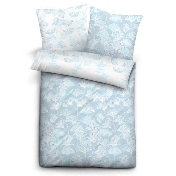 Biberna Mako Satin Bettwäsche 636140-222 Größe 135x200/80x80 cm Blumen blau