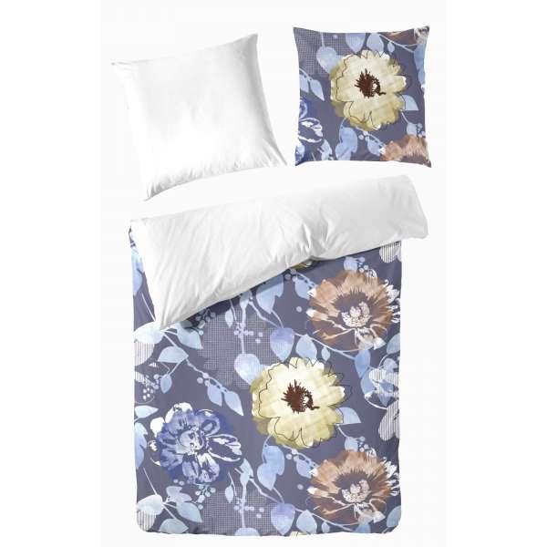 Hahn Haustextilien Mako Satin Bettwäsche Blumen blau 135x200 cm