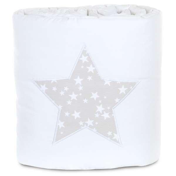 babybay Nestchen für Maxi, Boxspring und Comfort, weiß Applikation Stern perlgrau