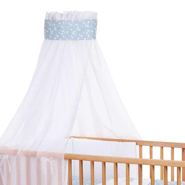 babybay Kinderbetthimmel Piqué mit Band, Applikation Stern azurblau Sterne weiß