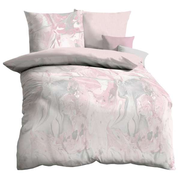 Kaeppel Mako Satin Bettwäsche Carrara, Größe 135x200+80x80 cm, rosé