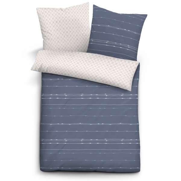 Biberna Mako Satin Wendebettwäsche 636141-290 Größe 200x200/2x80x80 cm blau