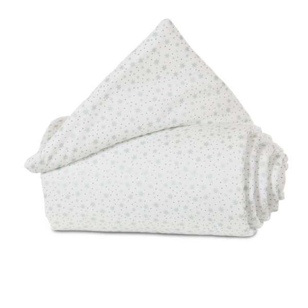 babybay Gitterschutz Organic Cotton für Verschlussgitter, weiß Glitzersterne mint