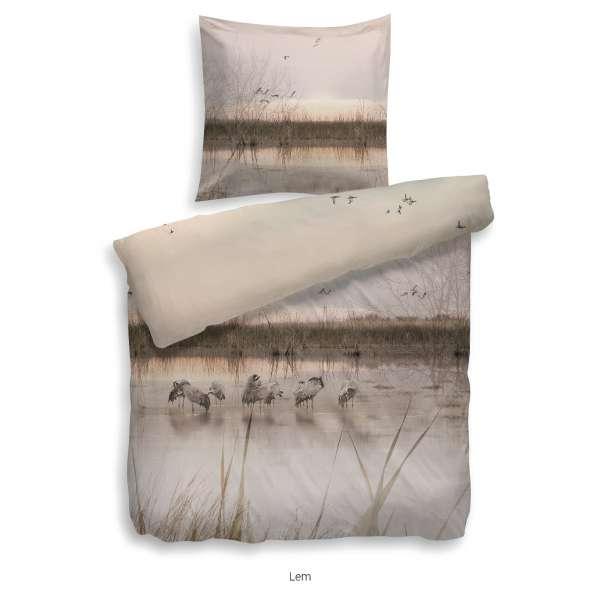 Heckett Lane Bettwäsche Lem, Größe 155x220 cm, Farbe taupe