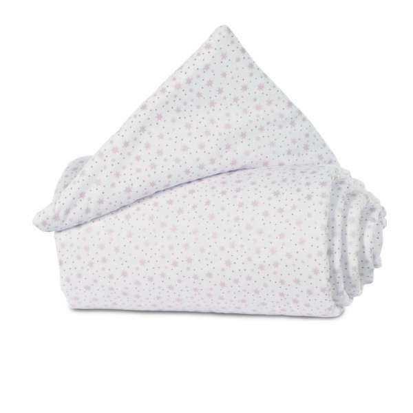 babybay Gitterschutz Organic Cotton für Verschlussgitter, weiß Glitzersterne rosé
