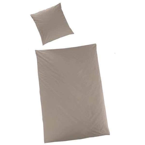 Hahn Haustextilien Luxus Satin Bettwäsche Uni Farbe Taupe Größe