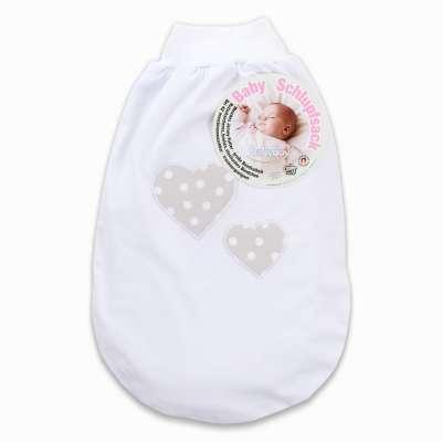 Tobi Babybay babybay Schlupfsack mit Gurtschlitz, weiß Applikation Herz perlgrau Punkte weiß 000123950000