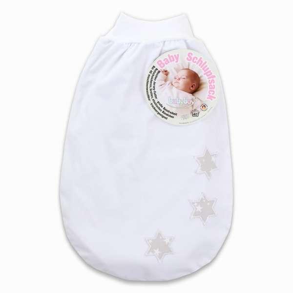babybay Schlupfsack mit Gurtschlitz, weiß Applikation Sterne perlgrau Sterne weiß